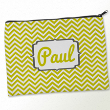 Personalized Yellow Charcoal Monogrammed Big Make Up Bag (9.5 X 13 Inch)