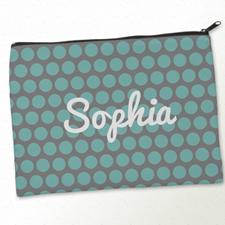 Personalized Aqua Grey Large Dots Big Make Up Bag (9.5 X 13 Inch)