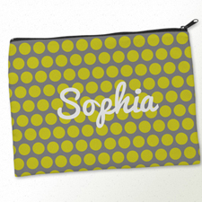 Personalized Yellow Grey Large Dots Big Make Up Bag (9.5 X 13 Inch)