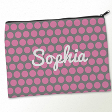 Personalized Pink Grey Large Dots Big Make Up Bag (9.5 X 13 Inch)