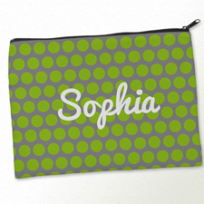 Personalized Lime Grey Large Dots Big Make Up Bag (9.5 X 13 Inch)