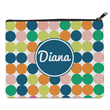 Print Your Own Navy Colorful Large Dots Bag (8 X 10 Inch)