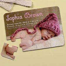 Invitation puzzle personnalisée annonce de naissance fille