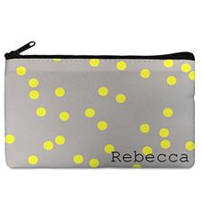 Custom Design Your Own Yellow Natural Polka Dots Makeup Bag (5 X 8 Inch)