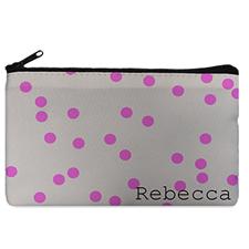 Custom Design Your Own Fuchsia Natural Polka Dots Makeup Bag (5 X 8 Inch)