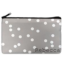 Custom Design Your Own White Natural Polka Dots Makeup Bag (5 X 8 Inch)
