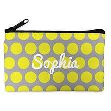 Custom Design Your Own Yellow Grey Large Dots Makeup Bag (5 X 8 Inch)