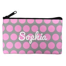 Custom Design Your Own Pink Grey Large Dots Makeup Bag (5 X 8 Inch)