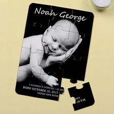 Carte puzzle portrait personnalisée annonce de naissance