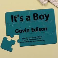 Carte puzzle personnalisée annonce de naissance c'est un garçon