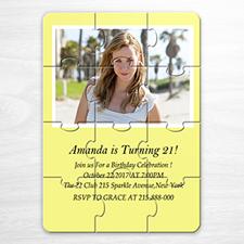 Invitation photo puzzle personnalisée jaune