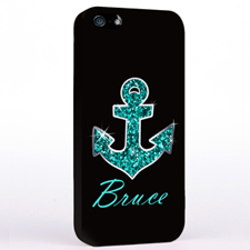 Personalized Glitter Turquoise Anchor iPhone Case