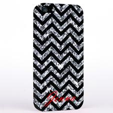 Personalized Glitter Silver Chevron iPhone Case