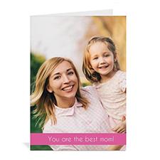 Cartes de voeux photo fête des mères personnalisées, pliées rose 12,7 x 17,78 cm