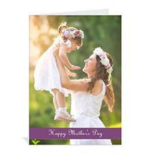 Cartes de voeux fête des mères personnalisées, pliées violet 12,7 x 17,78 cm