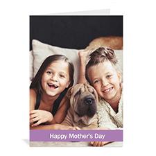 Cartes de voeux fête des mères personnalisées, pliées violet classique 12,7 x 17,78 cm
