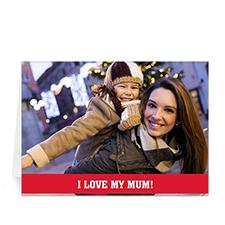 Cartes de voeux photo fête des mères personnalisées, pliées rouge 12,7 x 17,78 cm