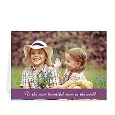 Cartes de voeux photo fête des mères personnalisées, pliées violet 12,7 x 17,78 cm