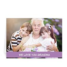 Cartes de voeux photo fête des mères personnalisées, pliées violet classique 12,7 x 17,78 cm