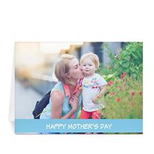 Cartes de voeux photo fête des mères personnalisées, pliées bleu clair 12,7 x 17,78 cm