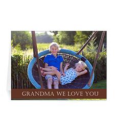 Cartes de voeux photo fête des mères personnalisées, pliées chocolat 12,7 x 17,78 cm