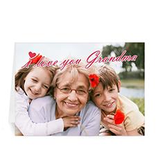 Cartes de voeux pliées  personnalisées 12,7 x 17,78 cm, Je t'aime mamie