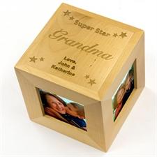 Cube photo en bois gravé super star
