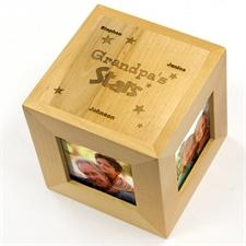 Cube photo en bois gravé mes étoiles