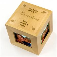 Cube photo en bois gravé nos coeurs t'appartiennent