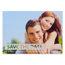 Cartes d'invitation réservez la date photo personnalisées simple jour paillettes argentées personnalisé