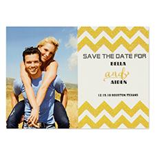 Cartes d'invitation réservez la date personnalisées chevron paillettes dorées