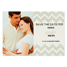 Cartes d'invitation réservez la date personnalisées paillettes argentées chevron
