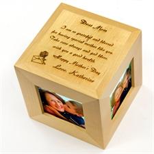 Cube photo en bois gravé Chère maman