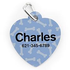 Médaille pour chien et chat en forme de coeur, impression personnalisée motif os bleu