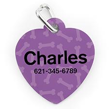Médaille pour chien ou chat en forme de coeur, impression personnalisée motif os lavande