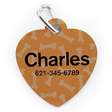 Médaille pour chien ou chat en forme de coeur, impression personnalisée motif os orange