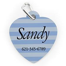 Médaille pour chien ou chat en forme de coeur, impression personnalisée rayure bleue
