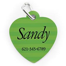 Médaille pour chien ou chat en forme de coeur, impression personnalisée rayure verte