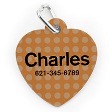Médaille pour chien ou chat en forme de coeur, impression personnalisée Pois orange