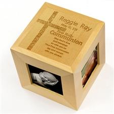 Cube photo en bois gravé première sainte communion