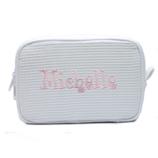 Embroidered Name White Cotton Waffle Weave Makeup Bag