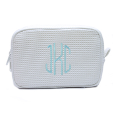 Embroidered Three Initial White Cotton Waffle Weave Makeup Bag