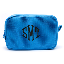 Embroidered Three Initial Turquoise Cotton Waffle Weave Makeup Bag