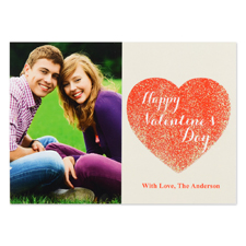 Carte Saint Valentin photo personnalisée amour à toi vraies paillettes, plate 12,7 x 17,78 cm