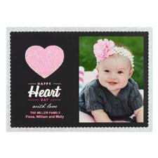 Carte Saint Valentin photo personnalisée amour vraies paillettes, plate 12,7 x 17,78 cm