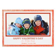Carte photo Valentin personnalisée rouge vraies paillettes, plate 12,7 x 17,78 cm
