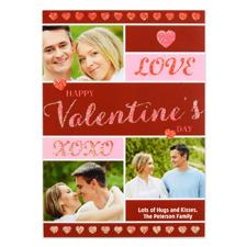 Carte Saint-Valentin photo personnalisée coeurs gribouillage, plate 12,7 x 17,78 cm