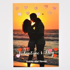 Carte Saint Valentin photo personnalisée vrais coeurs paillettes, plate 12,7 x 17,78 cm