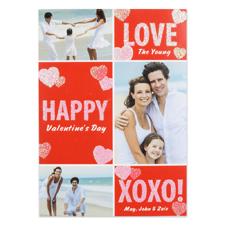 Carte Saint Valentin photo personnalisée vraies paillettes bonbons coeurs, plate 12,7 x 17,78 cm