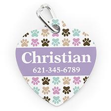 Médaille pour chien ou chat en forme de coeur, impression personnalisée patte colorée